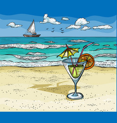 cocktail on the summer beach vector image