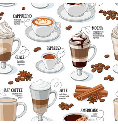 Coffee types seamless pattern vector