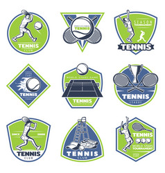 Colored vintage tennis emblems set vector