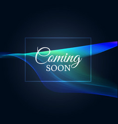 Coming soon text on neon wavy background vector