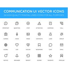 Communication user interface ui icon set high vector