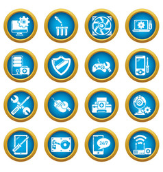 computer repair service icons set simple style vector image