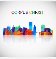 corpus christi skyline silhouette in colorful vector image