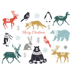 cute hand drawn winter animals set in sweater vector image
