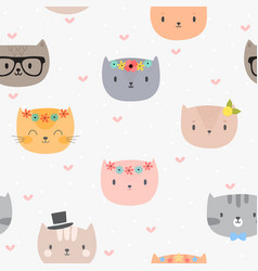 Cute seamless pattern with cartoon cats vector