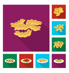 Design of pasta and carbohydrate sign vector