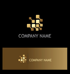 digital technology square gold logo vector image