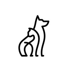 Dog cat pet care outline line art monoline logo vector