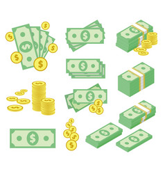 dollar money icons set vector image