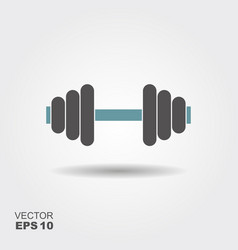 dumbbell icon in flat style with shadow vector image
