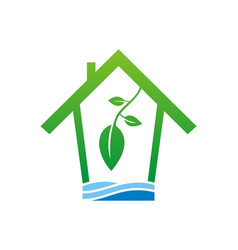 eco house clean water logo vector image