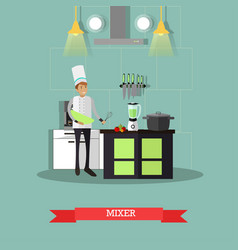 electric mixer in flat style vector image