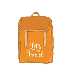 elegant orange backpack or rucksack in vintage vector image