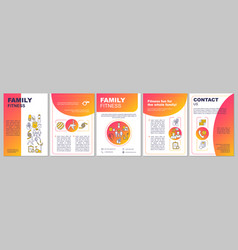 Family fitness center brochure template layout vector