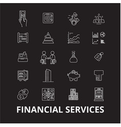 financial services editable line icons set vector image