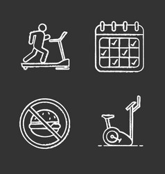 fitness chalk icons set vector image