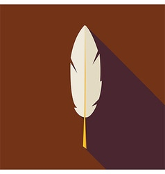 Flat Writing Feather with long Shadow vector