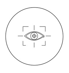 Focus of eye in the virtual reality icon in vector