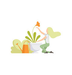 girl taking care and watering flowers in the vector image