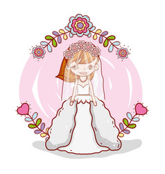 girl with weading dress and flowers branches vector image