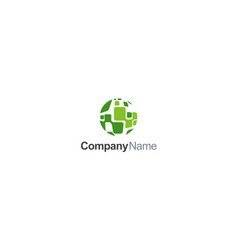 green globe square abstract company logo vector image
