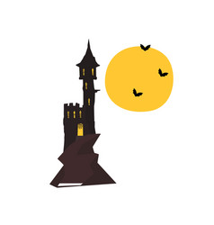 halloween castle tower with bats and full moon vector image
