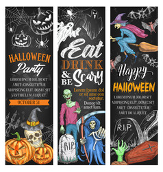 halloween night party sketch monster banner vector image