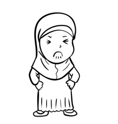 hand drawing frustrated muslim girl vector image