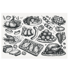 Hand drawn cooked meat dishes sketches set food vector