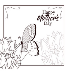happy mothers day card with butterflies and vector image