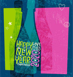 Happy new year 2020 champagne bottle vector