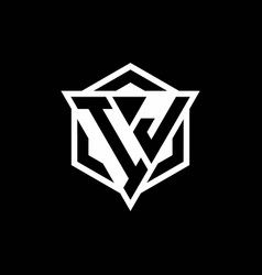 ij logo monogram with triangle and hexagon shape vector image
