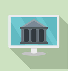 internet bank building icon flat style vector image