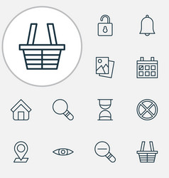 internet icons set collection of calendar zoom vector image
