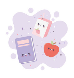 Kawaii school book apple and box juice cartoon vector