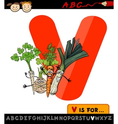 letter v with vegetables cartoon vector image