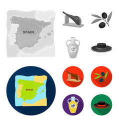 Map of spain jamon national dish olives on a vector