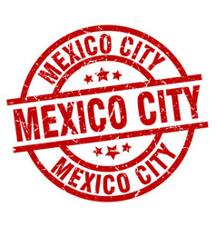 mexico city red round grunge stamp vector image