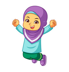 Moslem girl jumping vector