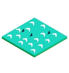 ocean with sharks isometric tile vector image