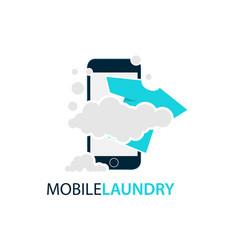 online mobile laundry logo design vector image