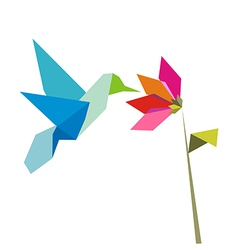 origami flower and hummingbird on white vector image