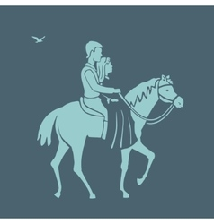 Pair rides a horse vector