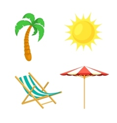 Palm tree sun umbrella deck chair vector