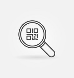 Qr code in magnifying glass icon or symbol vector
