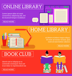 reading and learning process horizontal banners vector image