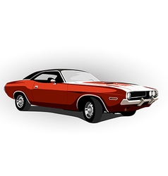 Red classic muscle car vector