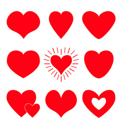 red heart icon set happy valentines day shining vector image