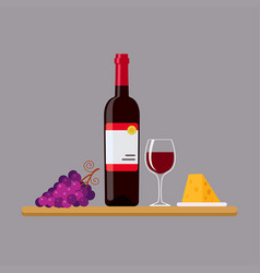 red wine cheese and grapes in flat style vector image