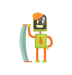 Robot lumberjack character android with saw in vector